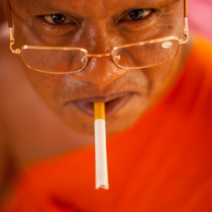 smoking monk in the Kep area, Cambodia