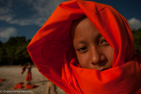 young monk on the Kep beach, Kep, Cambodia