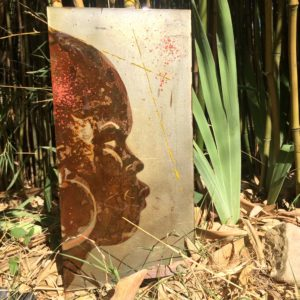 rust on metal, art on metal, painting with seawater from Mediterranea, Montpellier, France
