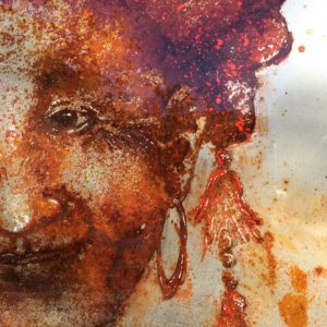 Red Red Dzao, portrait of a Red Dzao woman, from the Sapa Valley, North China, rust and art on metal, Christophe Monteil, Water First