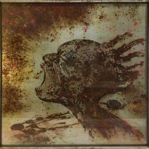 seawater and paint on metal, christophe monteil, kriss, indien, indian art, art on metal