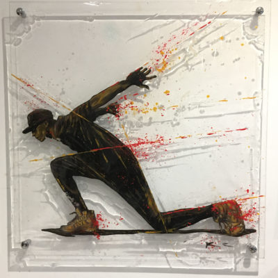 """Urban Flyer"", technique mixte sur plexiglass (perspex), 50x50, kriss, art, art on perspex, christophe monteil"