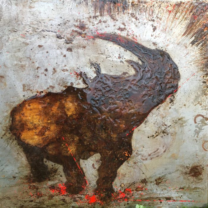 rust and antirust on metal, christophe monteil, kriss, art for the planet