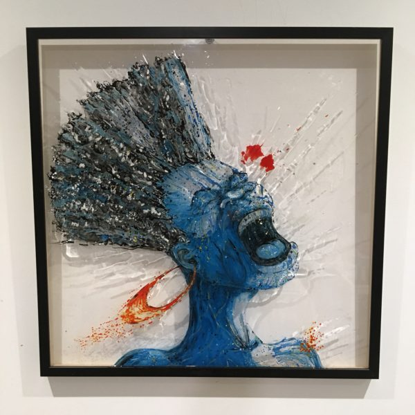 piece of art made with paint on plexiglass, 80x80, woman, christophe monteil, kriss, montpellier,
