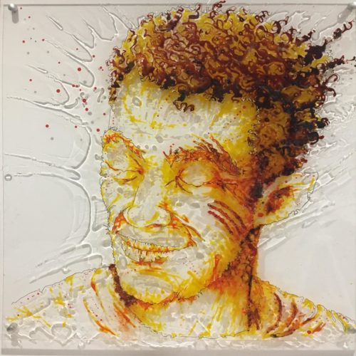 Portrait of the rap singer Demi-Portion, from Sète, France. Paint on plexi, 50x50