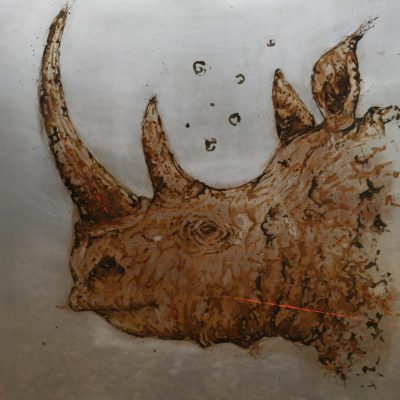 100x100, rhino made with water and vinegar on steel