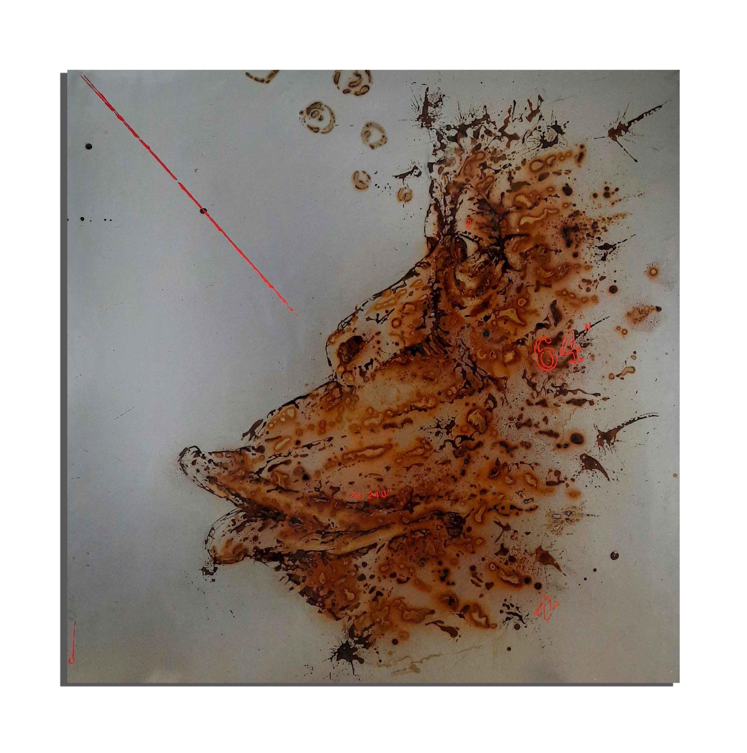 Chimpanzé de rouille fait avec du vinaigre et de l'eau de la plage de Pointe Noire (Congo) - projet Water Is Life, Christophe Monteil, Art 4 Nature