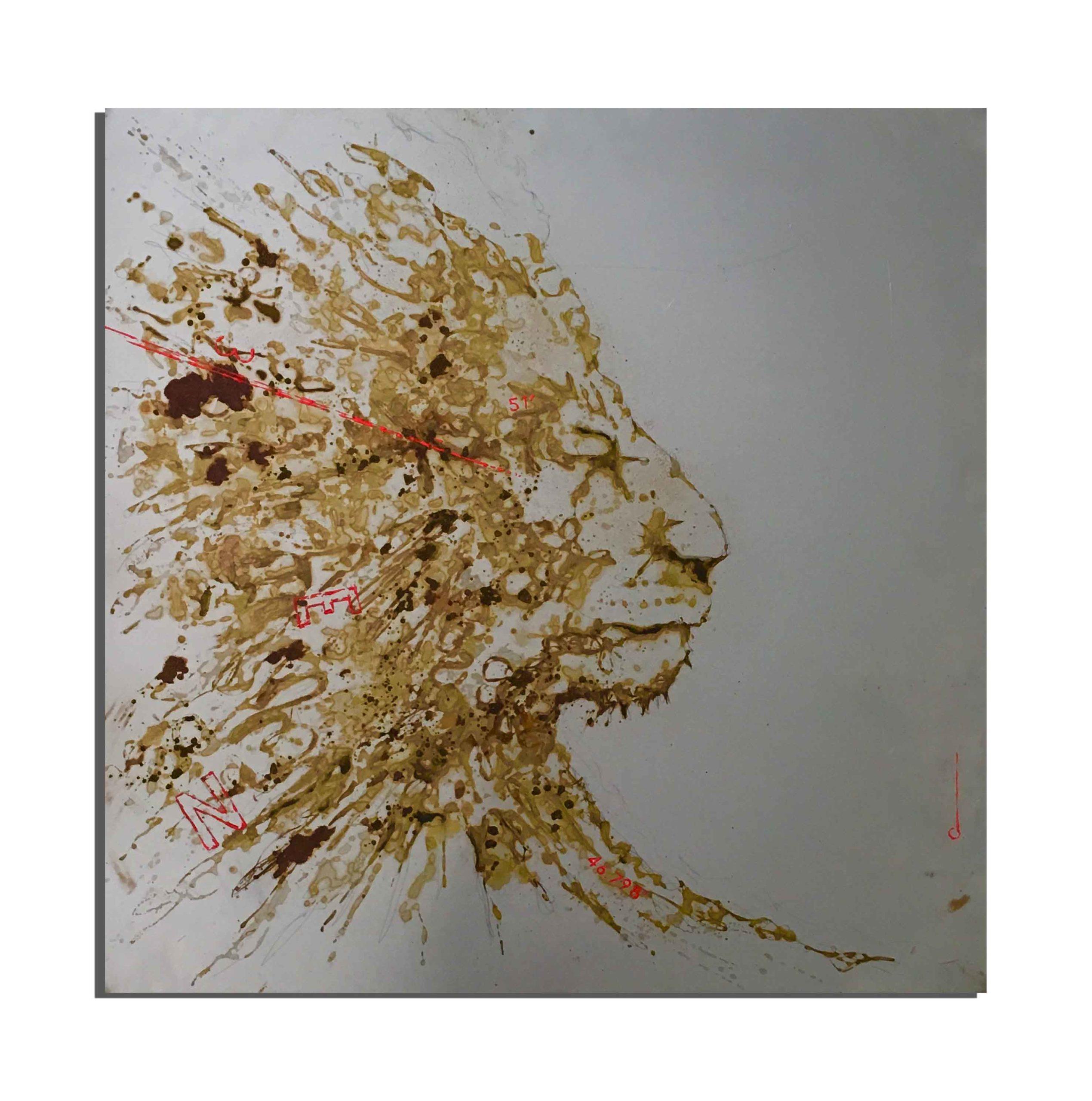 Lion de rouille fait avec du vinaigre et de l'eau de haute mer Méditerranée (France), collectée par Nicolas Lambert lors de son record de la traversée en kayak du continent à la Corse (juin 2020) - projet Water Is Life, Christophe Monteil, Art 4 Nature