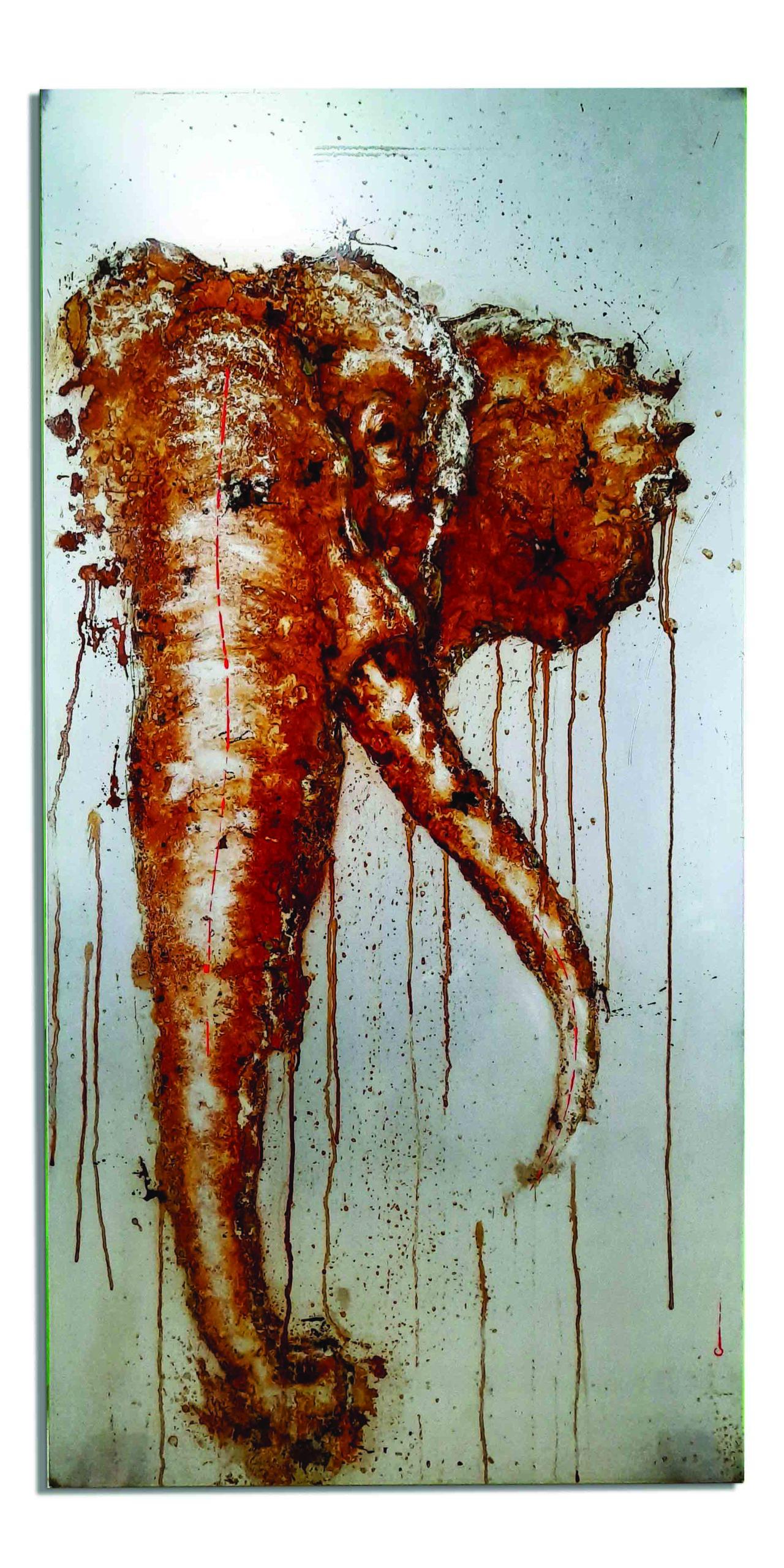 """""""NAM"""", éléphant de rouille fait avec du vinaigre et de l'eau du parc national de Cuc Phuong (Vietnam) sur acier - art on metal, christophe monteil, water is life, elephant"""