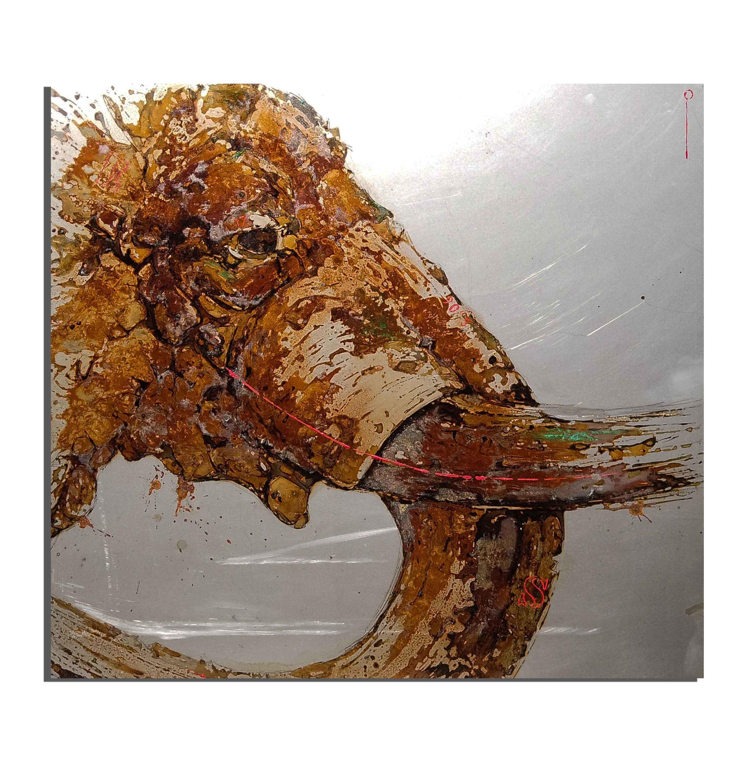 Elephant de rouille fait avec du vinaigre et de l'eau du Zambèze (Zimbabwe) - projet Water Is Life, Christophe Monteil, Art 4 Nature