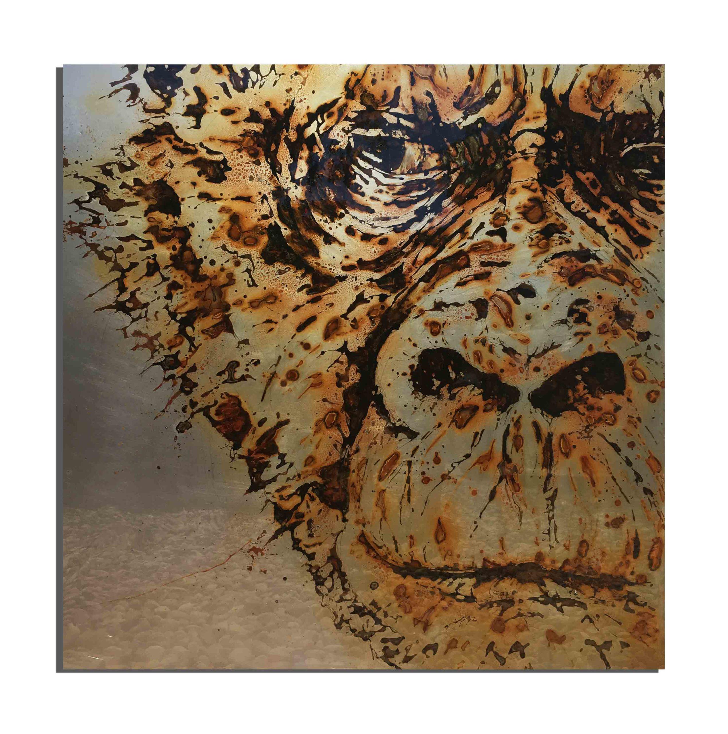 Rhino de rouille fait avec du vinaigre et de l'eau de Barcelone (Catalogne, France) - projet Water Is Life, Christophe Monteil, Art 4 Nature