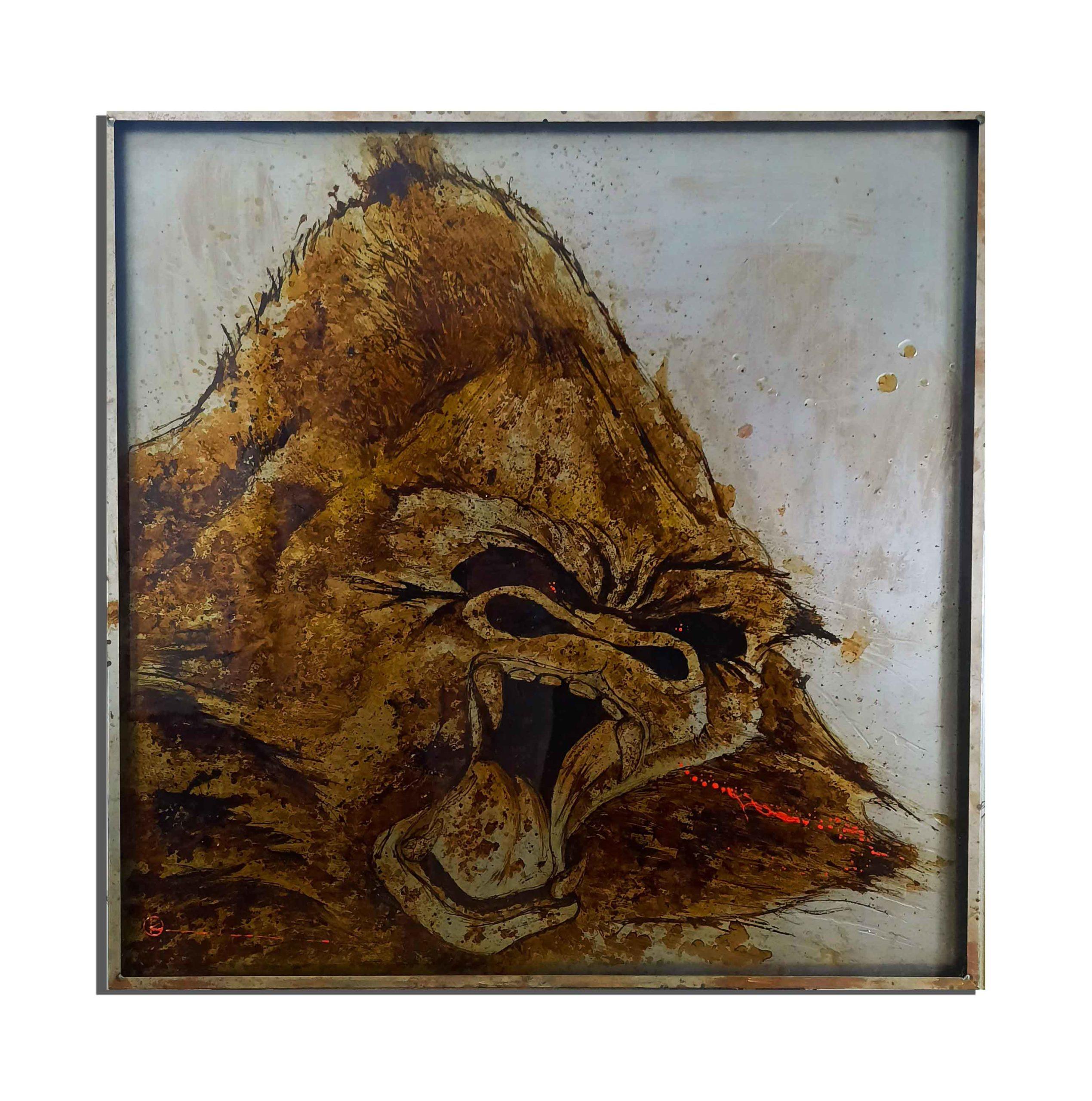 Gorille de rouille fait avec du vinaigre et de l'eau du golfe du Lion (France) - projet Water Is Life, Christophe Monteil, Art 4 Nature
