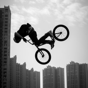 A rider participating at the high jumpat the Fise world series in Chengdu, China - skate, wakeboard, bmx