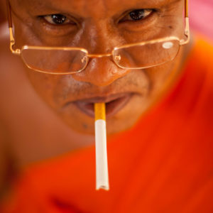 christophe monteil, smoking monk in the Kep area, Cambodia