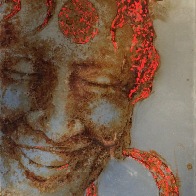 Red Black H'Mong, portrait of a Black H'Mong woman, from the Sapa Valley, North Vietnam. Rust and art on metal. Water First. Christophe Monteil