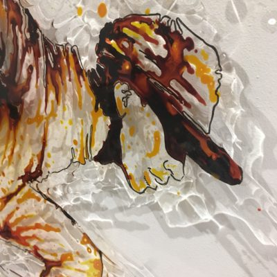 piece of art made with paint on plexiglass, 80x80, hip hop, dance, christophe monteil, kriss, montpellier, danse, urban culture, culture urbaine