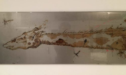 """""""Long Neck Curious !"""" - paint with vinegar on steel - 40x100 - 2019"""