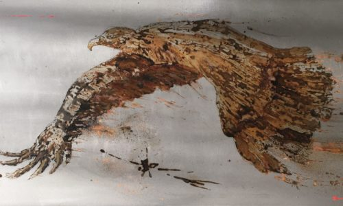 paint with rust on metal - vinegar and water from the Pyrénées, France - royal eagle