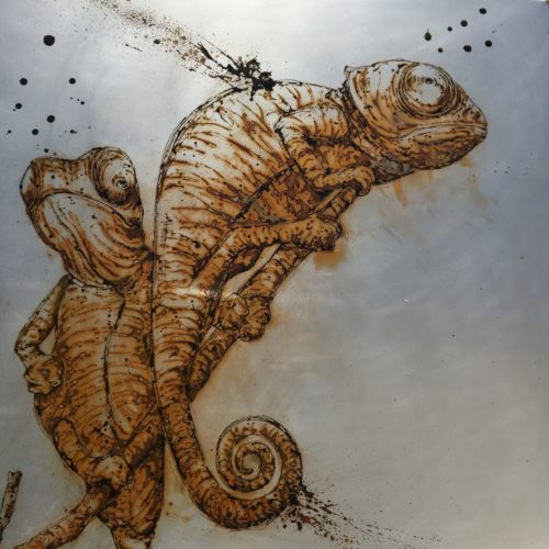 100X100, 2020, cameleons made with water from Cuc Phuong NP, Vietnam and vinegar on steel