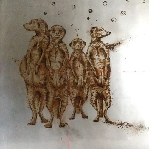 100x100, meerkats made with water and vinegar on steel