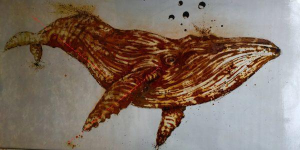 rust on metal, made with vinegar - art, whale, baleine, christophe monteil, tinos