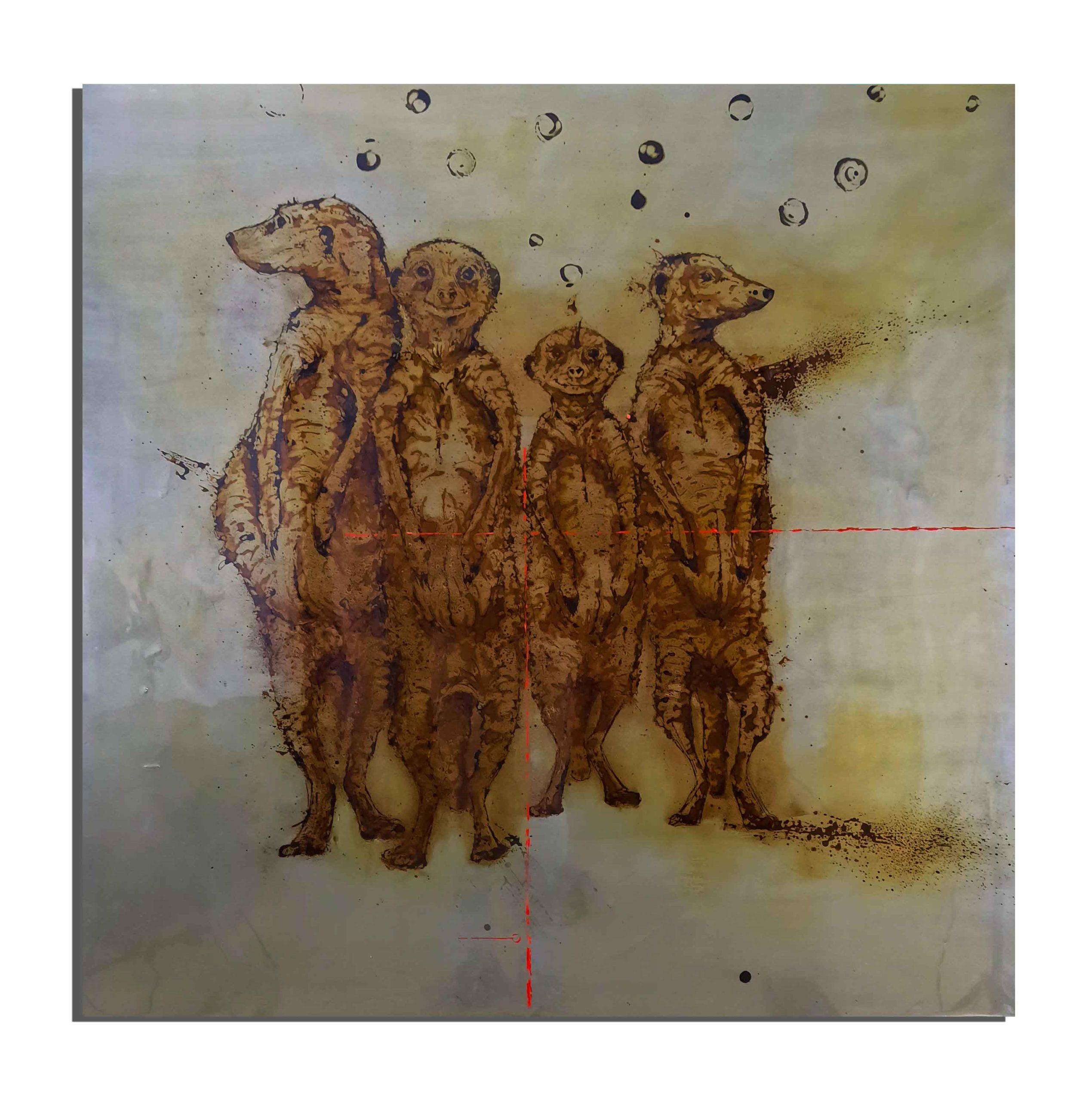 Suricates de rouille faits avec du vinaigre et de l'eau du golfe du Lion (France) - projet Water Is Life, Christophe Monteil, Art 4 Nature