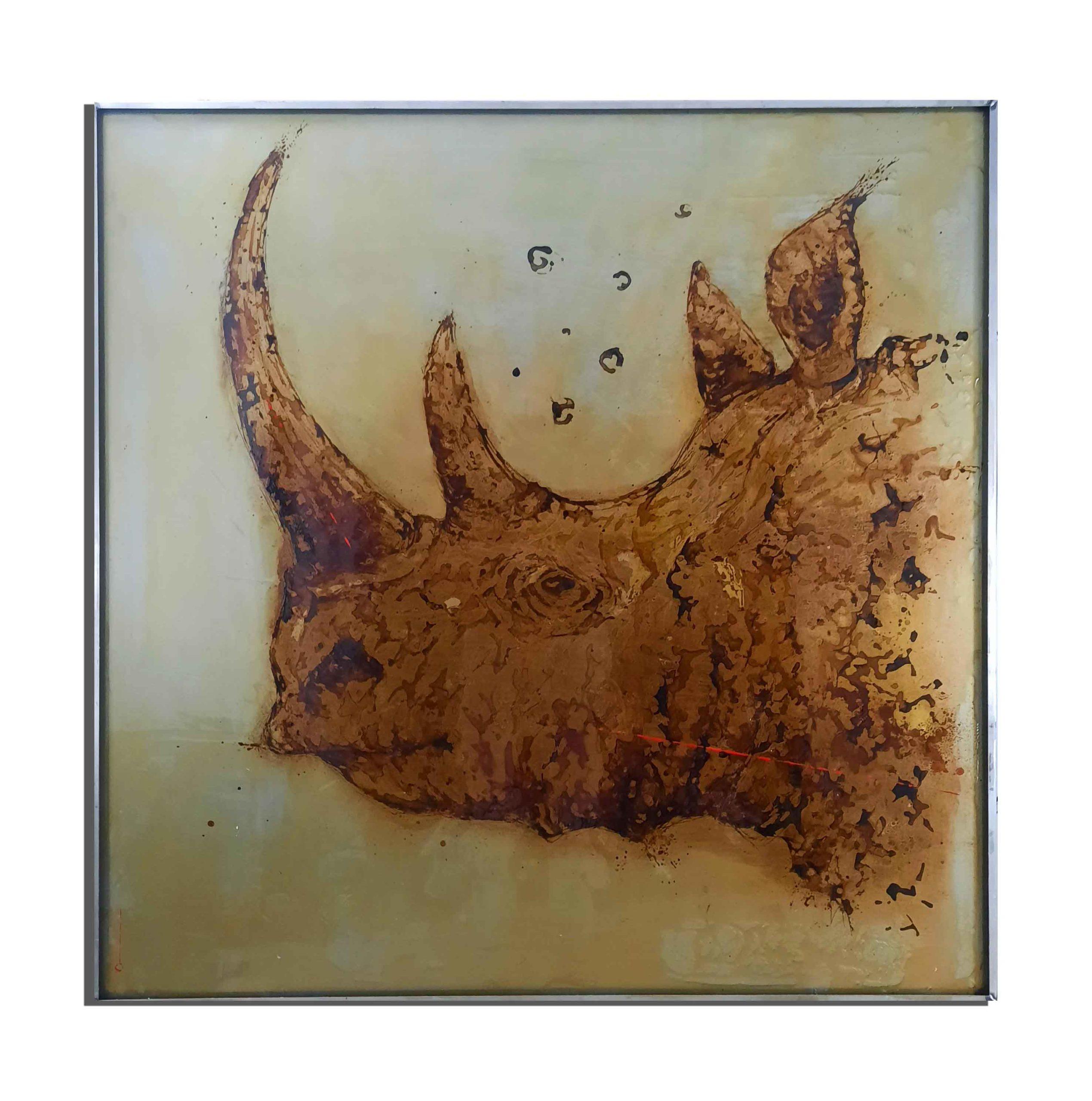 Rhino de rouille fait avec du vinaigre et de l'eau du golfe du Lion (France) - projet Water Is Life, Christophe Monteil, Art 4 Nature