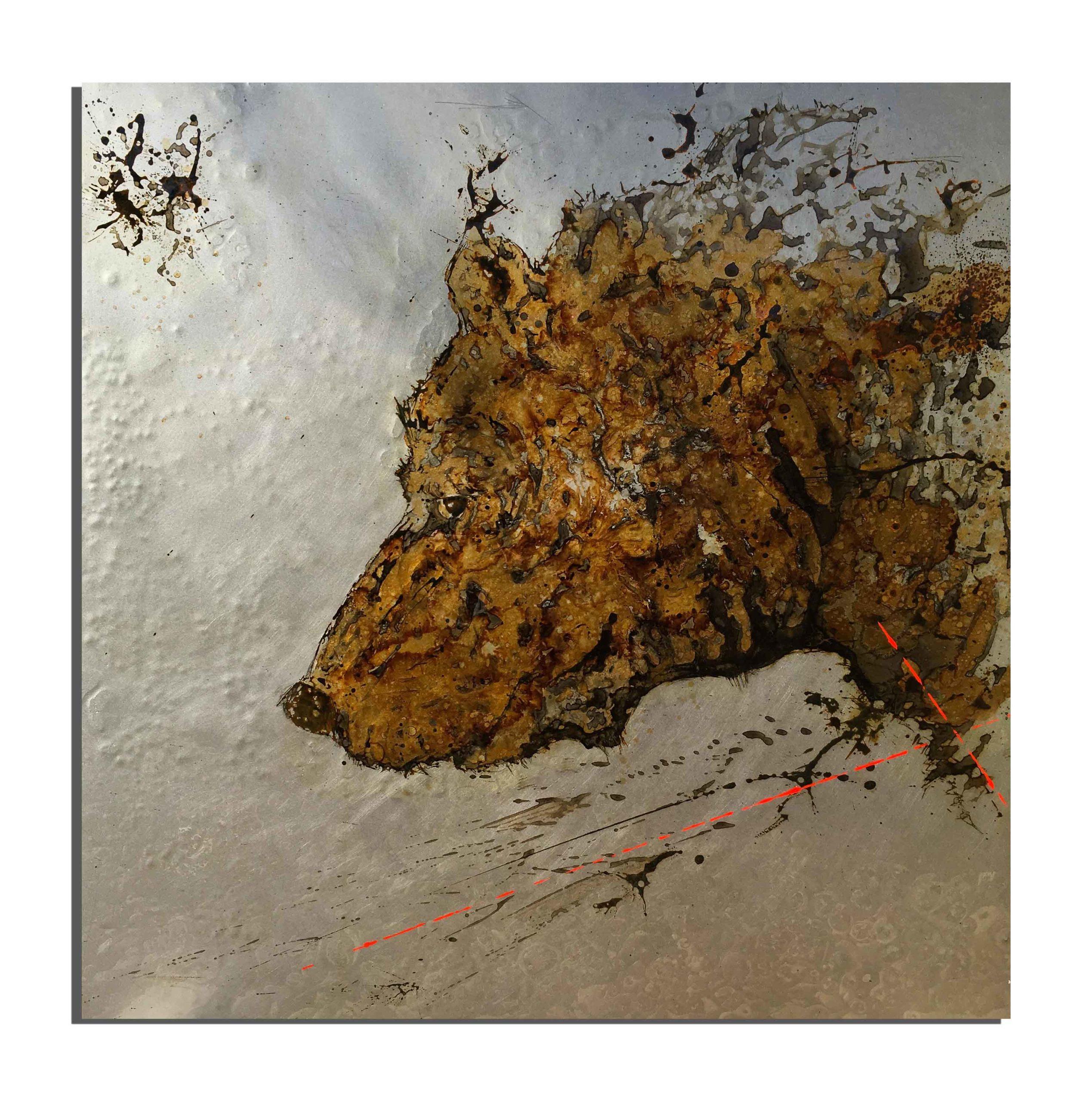 Ours de rouille fait avec du vinaigre et de l'eau de la Réserve Naturelle de Py (Pyrénées, France) - projet Water Is Life, Christophe Monteil, Art 4 Nature
