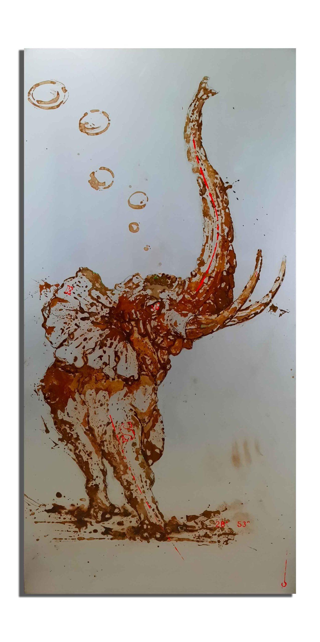 50x100 - éléphant de rouille - vinaigre et eau du Zambèze (Zimbabwe), projet Water Is Life, Christophe Monteil, Art 4 nature