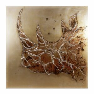Rhino rust on metal painted with water from the Zambeze River (Zimbabwe), 100x100